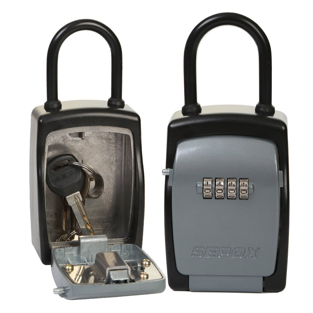 SEPOX Portable Lock Box Key Safe with Long Shackle,Realtor's Lockbox with Your Own Combination,Portable Key Safe
