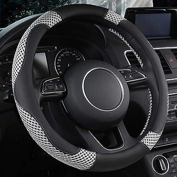 Cxtiy Genuine Leather Car Steering Wheel Cover Set Steering Wheel Cover Protector Fit Most of Car SUV 15inch Black