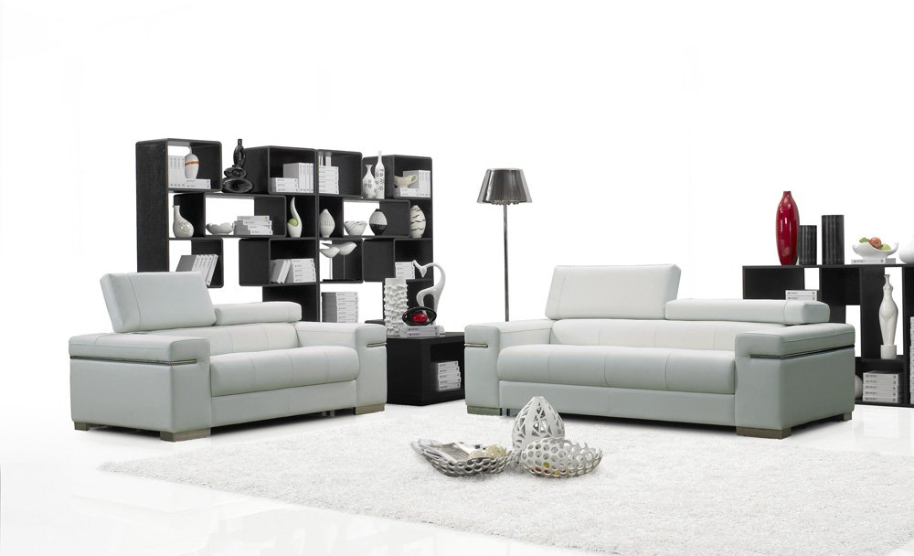 Amazon.com: Ju0026M Furniture Soho White Leather Sofa U0026 Loveseat With  Adjustable Headrests Sofa Set: Kitchen U0026 Dining