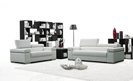 Charmant Ju0026M Furniture Soho White Leather Sofa U0026 Loveseat With Adjustable Headrests  ...