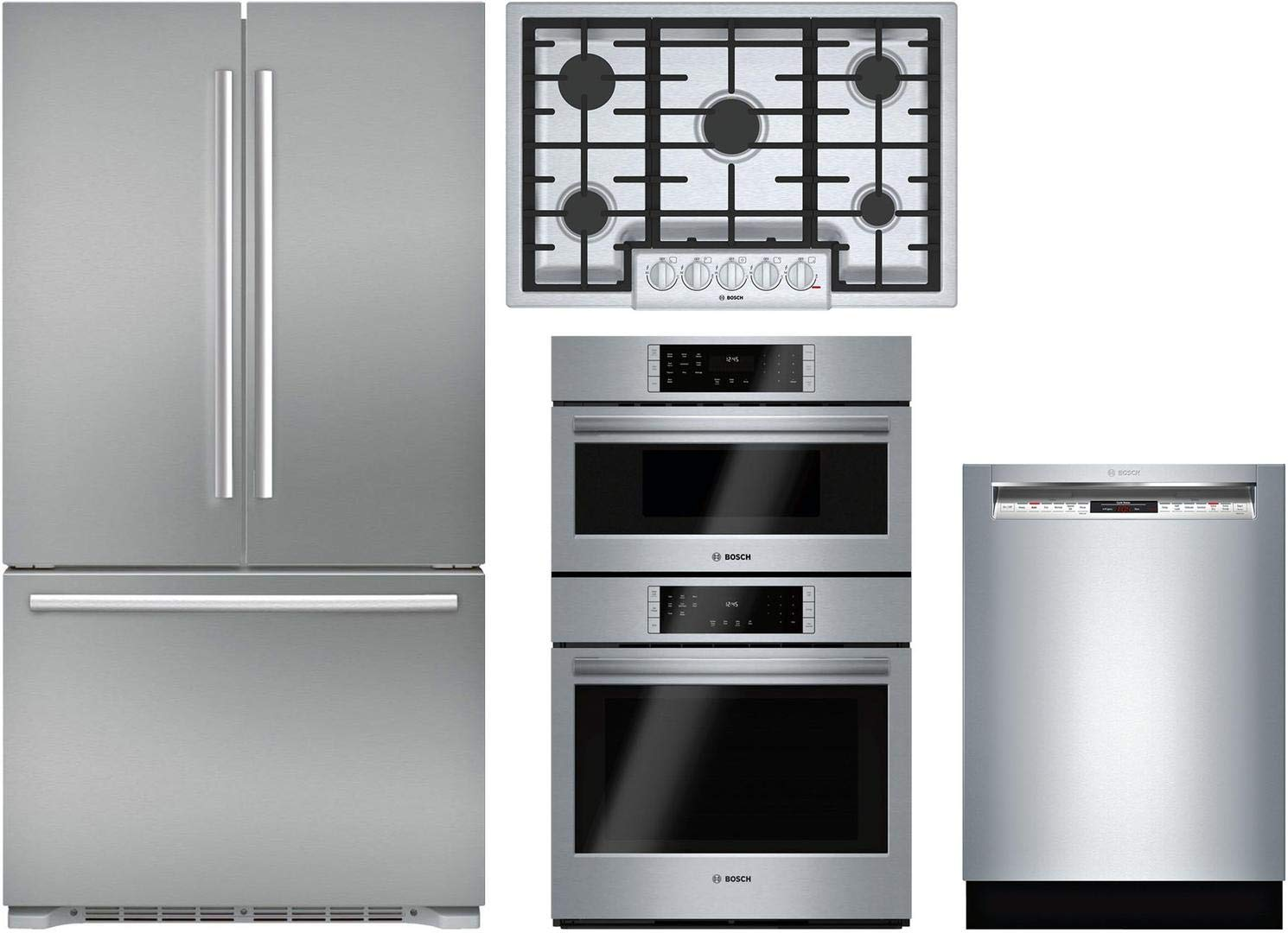 """Bosch Bosch 4 Piece Kitchen Package with B21CT80SNS 36""""French Door Refrigerator,NGM8056UC 30""""Gas Cooktop, HBL8752UC 30""""Wall Speed Oven and SHE878WD5N 24""""Built In Full Console Dishwasher in Stainless S"""