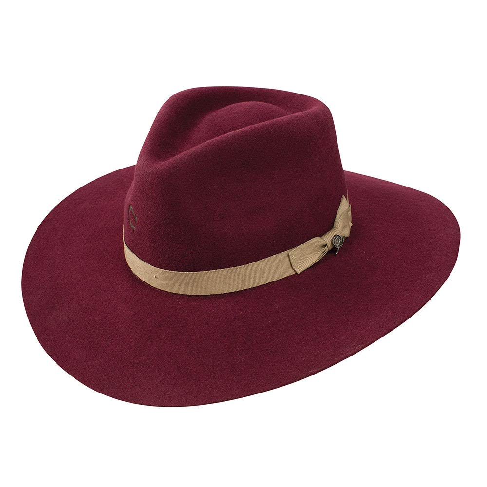 Charlie 1 Horse Hats Womens Highway 3 3/4 Brim M Burgundy by Charlie 1 Horse Hats