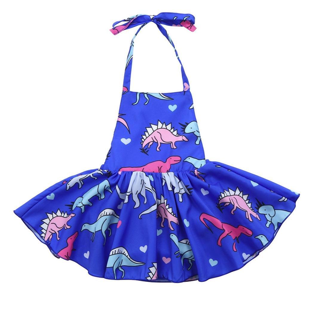 Efaster Infant Baby Girls Sleeveless Dinosaur Print Backless Sling Casual Dress