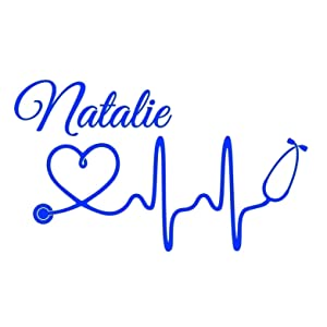 Personalized Nurse EKG with Cursive Name Vinyl Decal | Registered Nurse Sticker for Yeti Cup, Tumbler, Car, Truck, SUV, Laptop | Gifts for RN or Nursing Student | You Choose Size and Colors