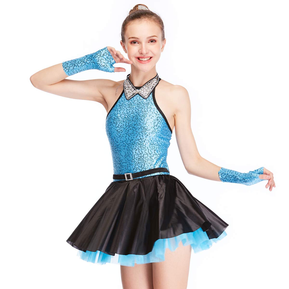 MiDee Jazz Dress Dance Costume High Neck with Sparkle Austria Rhinestones Collar (MC, Blue) by MiDee