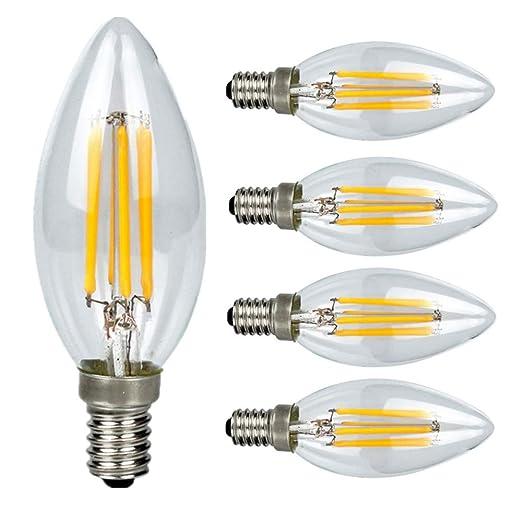 5X Bombilla E14 Filamento Bombillas Luz Lámpara 4 W 450LM COB Epistar Luz de Vela Bombillas