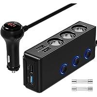 $22 » [Updated Version]QUICK CHARGE 3.0 Cigarette Lighter Adapter, 120W 12V/24V 3-Socket Power…