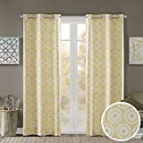 Room Darkening Curtains for Bedroom – Printed Medallion Inka Window Curtains Pair – Yellow – 42×63 Inch Panel – Foam Back Energy Saving Curtains for Living Room – Grommet Top – Include 2 Panels Review