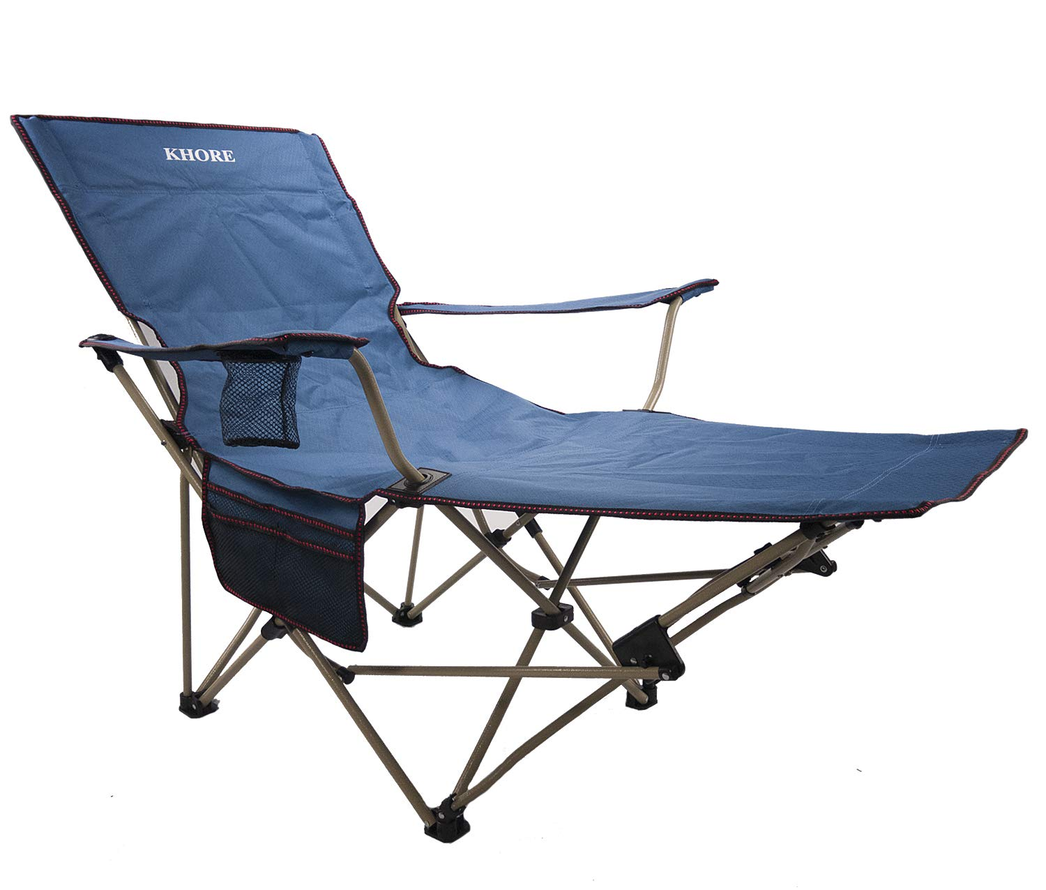 Khore Automaticly Adjustable Recliner Folding Camping Chair with Footrest (Blue) by KHORE
