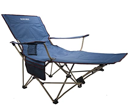 Magnificent Khore Automaticly Adjustable Recliner Folding Camping Chair With Footrest Blue Creativecarmelina Interior Chair Design Creativecarmelinacom