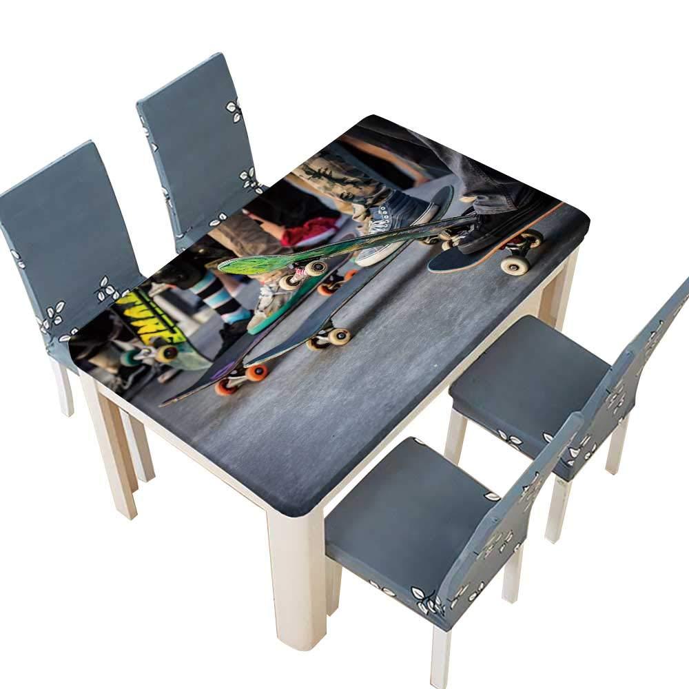 PINAFORE ポリエステル製テーブルクロス スケートボードアクション ベニス ビーチ スケートパーク ロサンゼルス 米国 お手入れ簡単 こぼれ防止 幅25.5×長さ65インチ (エラスティックエッジ) W41