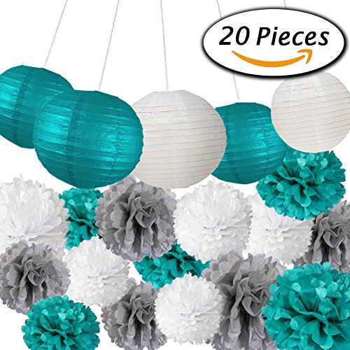 Paxcoo 20 Pcs Teal Party Supplies for Birthday (Tiffany Blue Party Decorations)