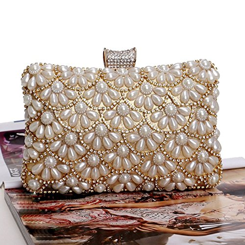 Dinner Evening Bag Pearl Banquet bag Fly Gold Women's Gold Dress Clutch Color evening 5d6qYdHwEn