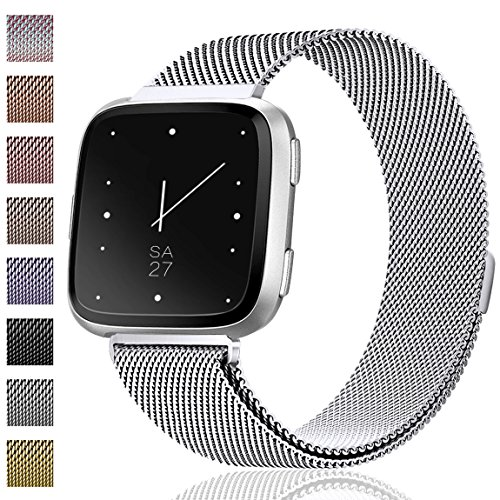 Maledan Metal Bands Replacement Compatible with Fitbit Versa, Stainless Steel Milanese Accessories Bracelet Strap Band with Magnet Lock for Women Men, Silver, Large