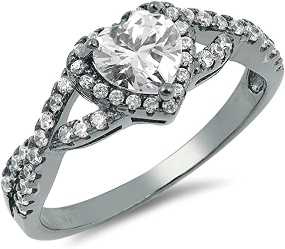 CHOOSE YOUR COLOR Sterling Silver Wedding Promise Ring