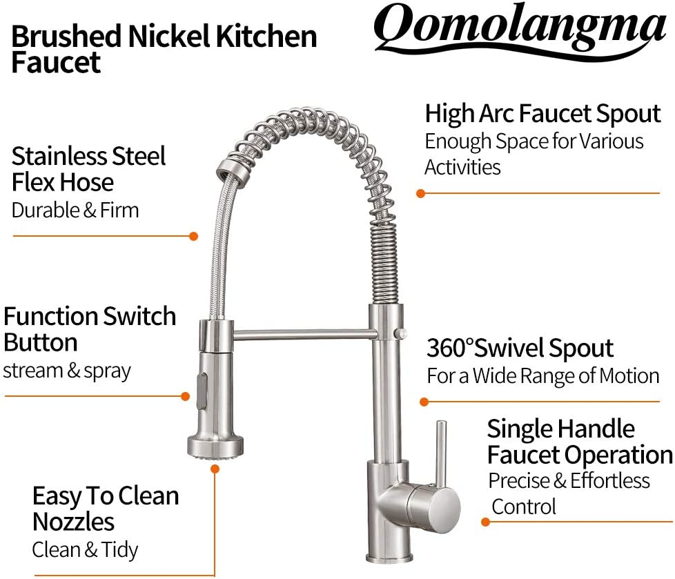 Commercial Spring High Arc Kitchen Faucet Qomolangma Lead Free Solid Brass Kitchen Faucets with Pull Down Sprayer Black Single Lever Handle Kitchen Sink Faucet
