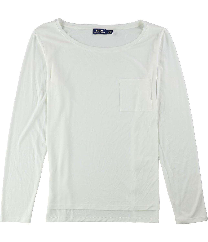 Dckwshwht Ralph Lauren Womens Ls Pocket Basic TShirt
