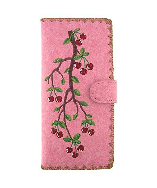 f490514050c3 LAVISHY Embroidered Cherry Vegan/Faux Leather Large Flat Wallet at ...