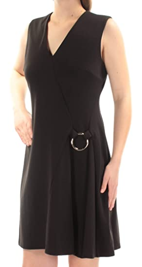 40a188cf Calvin Klein Womens Black Sleeveless V Neck Above The Knee Fit + Flare  Dress Size: 4: Amazon.co.uk: Clothing