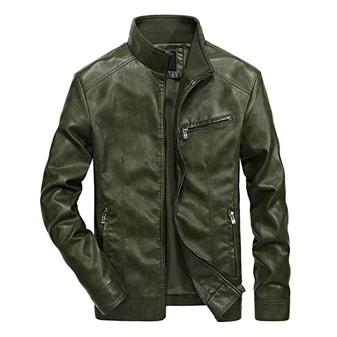 9b565bece Nantersan Men's Leather Jacket Stand Collar PU Mens Faux Fur Coats  Motorcycle Jacket