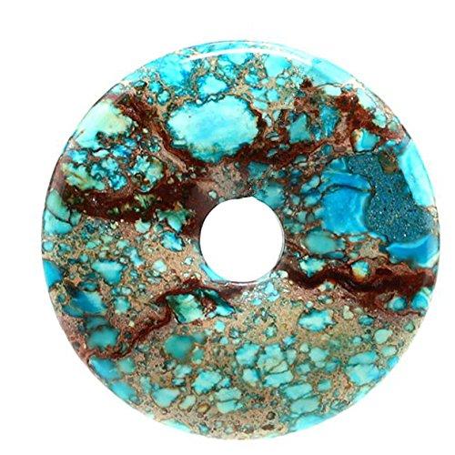 40mm Pendant Bead (40mm Gemstone Dyed Sea Sediment Jasper Reiki Healing Chakra Donut Pendant Bead DIY Jewelry Accressory Necklace Kit (Sky blue))