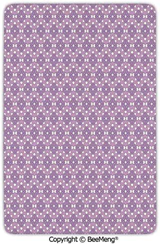 Area Rug for Chair Living Room Mat Non-Slip Soft Entrance Mat Door Floor Rug,Geometric,Blooming Flowers in Spring Season Themed Birth of The Nature Image Decorative,Lilac Lavander White,24 x 35 in