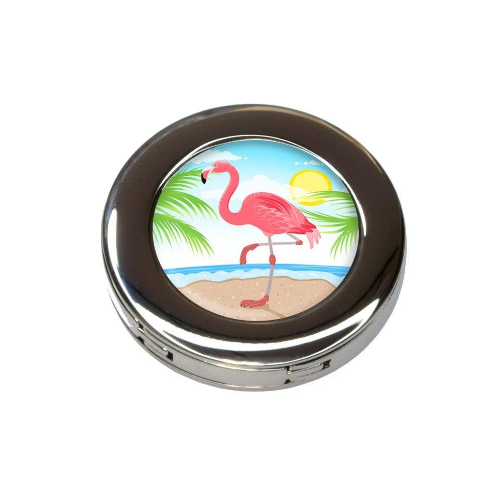 Flamingo and Palm Tree Beach Vacation Foldable Purse Handbag Hook Hanger Holder