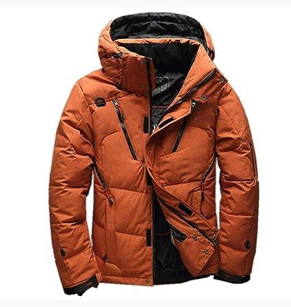 LIHUA Abrigo de Invierno de Moda para Hombre Abrigo Sólido Grueso con Capucha Chaquetas de Abajo