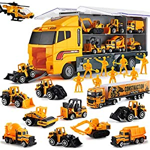 Best Epic Trends 61ZjxiLEWML._SS300_ 19 in 1 Construction Truck with Engineering Worker Toy Set, Mini Die-Cast Engine Car in Carrier Truck, Double Side…