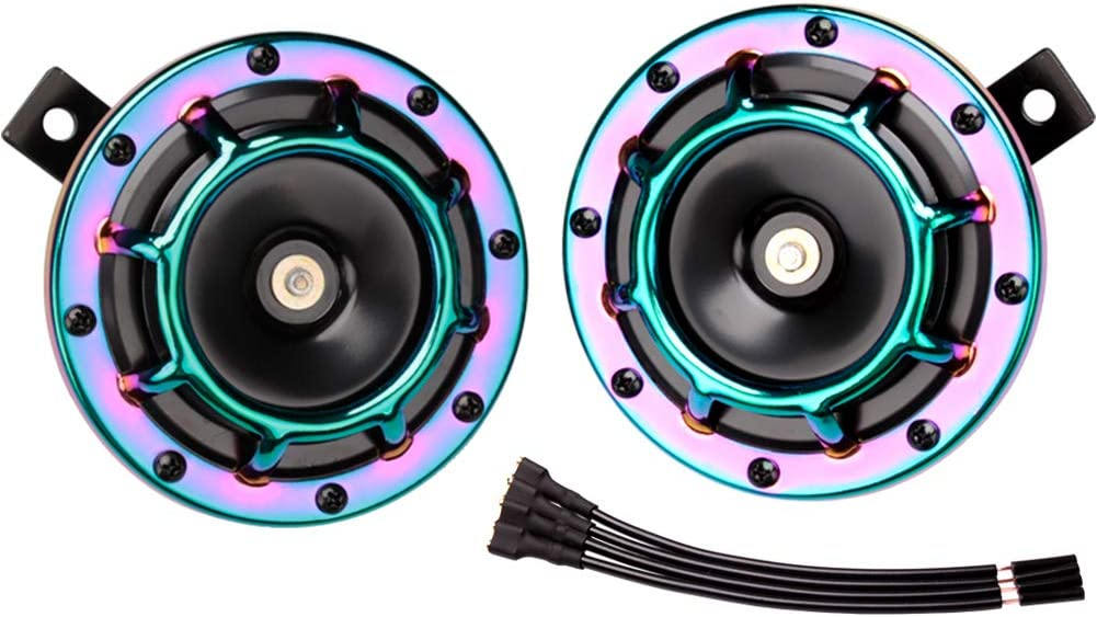 FARBIN Loud Eletric Horn Super Tone 12V High Tone//Low Tone Metal Twin Horn Kit with Protective Grill Black