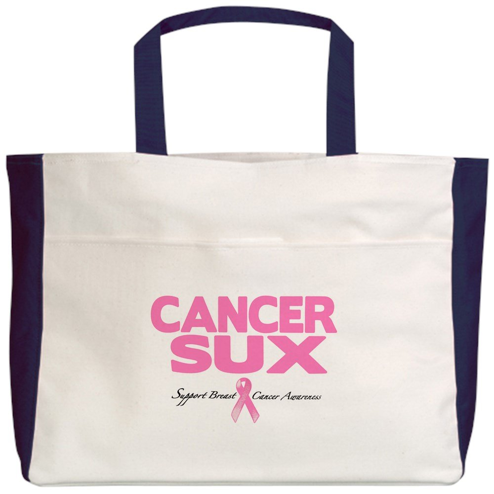 2-Sided Cancer Sux Pink Ribbon Awareness Royal Lion Beach Tote