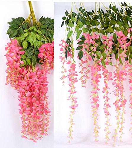 Heybee 12 Piece Artificial Silk Wisteria Vine Rattan Hanging Flower for Fairy Romantic Wedding Décor, Pink
