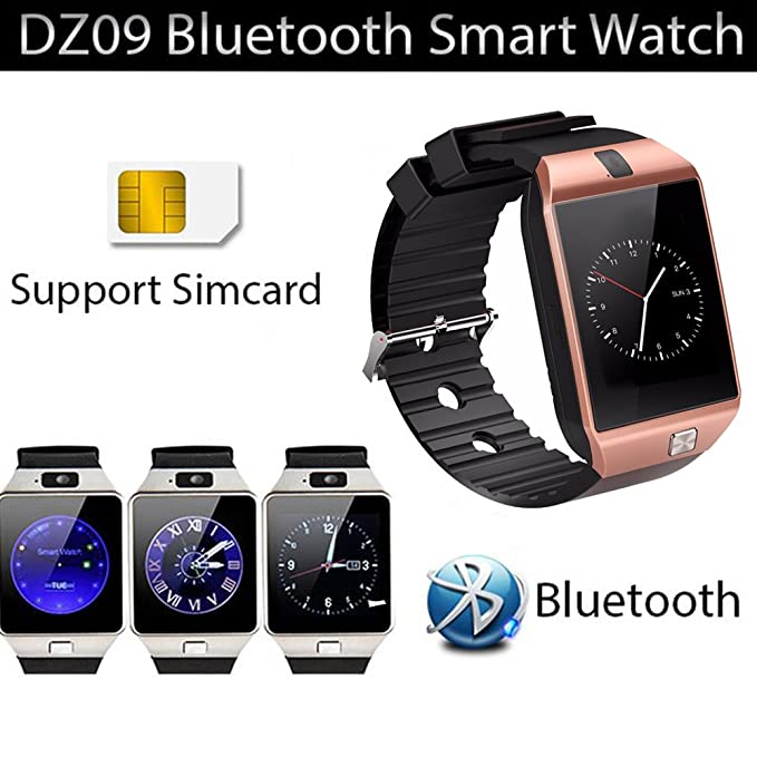 Amazon.com: Smart Watch dz09 with Camera Bluetooth Wristwatch SIM Card Smartwatch for iOS Android Phones Support Multi Languages (Gold): Cell Phones & ...