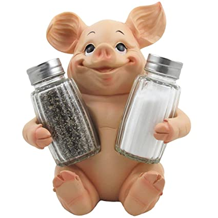Nice Decorative Pig Glass Salt And Pepper Shaker Set With Holder Stand In Farm  Animal Figurines,