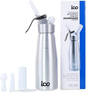 Professional Whipped Cream Dispenser for Delicious Homemade Whipped Creams, Sauces, Desserts, and Infused Liquors - uses 8g N2O cartridges (500ml, 1 Pint)