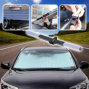 AUTOPDR Universal Car Retractable Windshield SunShade Auto Sun Shade Cover for most car Trucks SUV UV Protection Front Windows