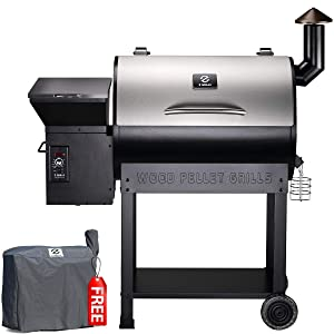 Z GRILLS ZPG-7002E 2020 New Model Wood Pellet Grill & Smoker, 8 in 1 BBQ Grill Auto Temperature Control, 700 sq inch Cooking Area, Silver