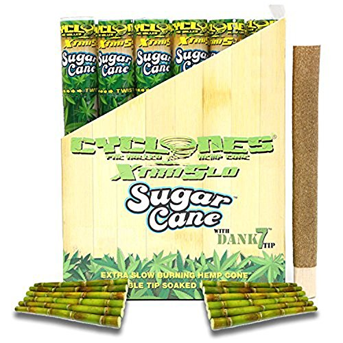 Cyclones Sugar Cane XTRASLOW Pre-Rolled Flavored Hemp Wraps with Dank 7 Tip (12 Pack) and ES Scoop Card