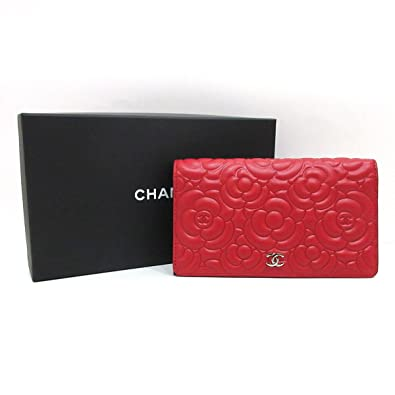 cbd0269ffea1 (シャネル) CHANEL 長財布 二つ折り カメリアエンボス ラムスキン レザー 赤 レッド ココマーク