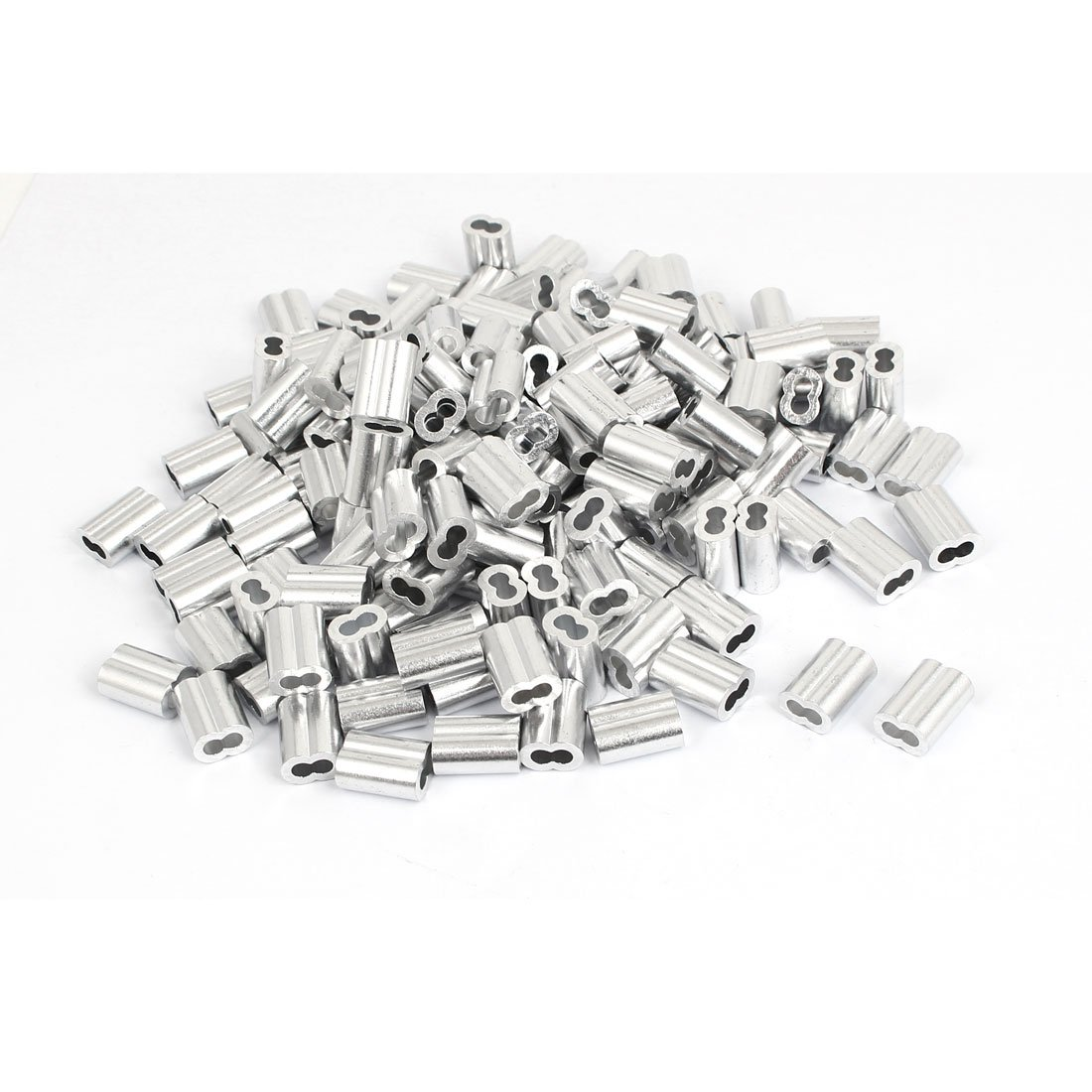 uxcell 3mm 1/8'' Wire Rope Aluminum Sleeves Clip Fittings Cable Crimps 200 Pcs