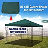 BenefitUSA 10'X10' Replacement Top Gazebo Canopy Cover Patio Pavilion Sunshade Plyester Single Tier (Green)
