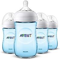 Philips Avent Natural Baby Bottle, Blue, 9oz, 4pk, SCF013/49