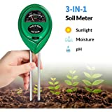K KERNOWO pH Soil Meter, 3-in-1 Soil Testing Kit with Moisture, Light and PH Tester for Garden, Farm, Lawn, Indoor & Outdoor (No Battery Needed)