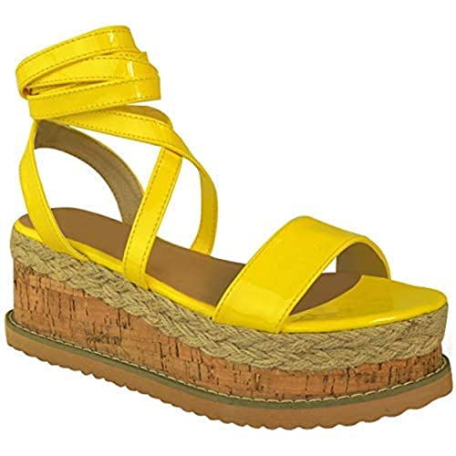 Mujer Forma Plana Corcho Alpargatas Sandalias De Cuña Tobillo Zapatos Con Cordones Talla: Amazon.es: Zapatos y complementos