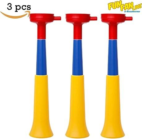 FUN FAN LINE - Pack x3 Trompetas Vuvuzela Dos cuerpos. Accesorio para fútbol y Celebraciones Deportivas. Bocina de Aire ruidosa para la animación Ideal para Transportar. (Colombia): Amazon.es: Deportes y aire libre