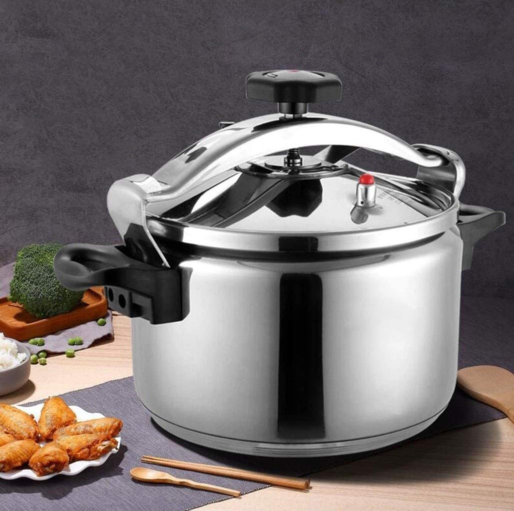 Pressure cooker stainless steel commercial large-capacity restaurant home kitchen gas induction cooker general pressure cooker 5-40L (Color : Silver, Size : 40L)