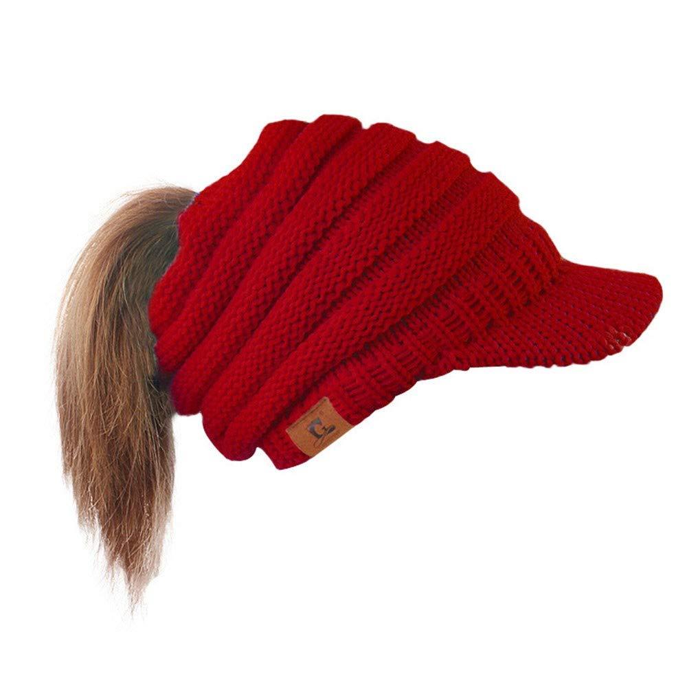 Spriteman Beiläufig Pferdeschwanz Mütze Häkeln Ski Cap Frauen Hut