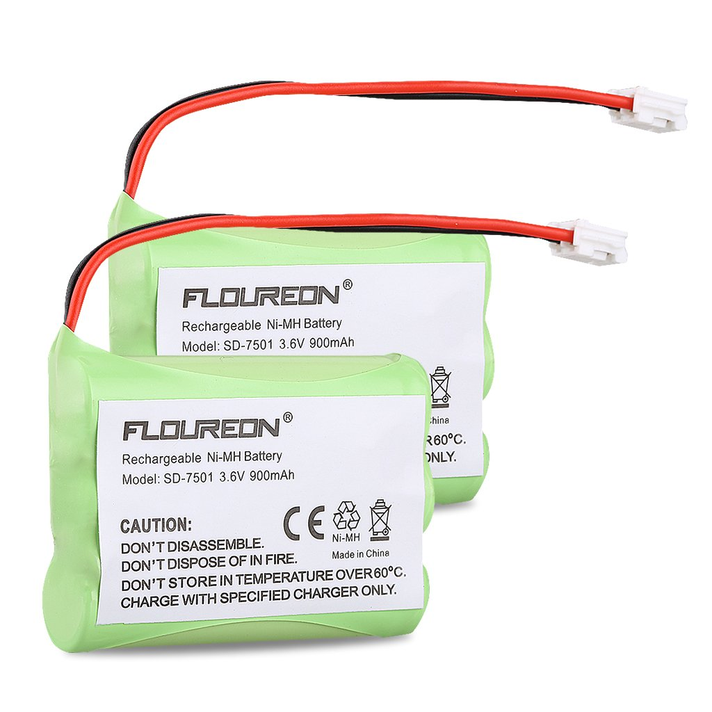 FLOUREON 2-Pack 3.6V 900mAh Ni-MH Cordless Phone Batteries for Motorola SD-7501 MD7161 MD7161-3 525735-001AT-T/Lucent 89-1323-00-0 27910