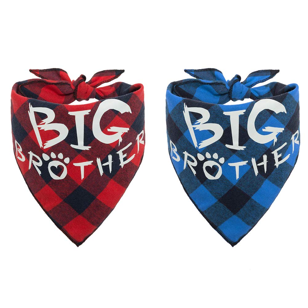 PAWCHIE 2 PCS Plaid Dog Bandana with Big Brother Printing Reversible Triangle Bibs Scarf Accessories for Dogs Cats Red & Blue