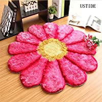 Ustide Modern Floral Rug Pink Rug for Girls Room Solid Color Area Rug 3D Flower Design Rug Soft Shaggy Floor Mat
